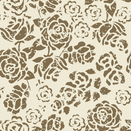 distressed: Grunge Seamless Floral Pattern Illustration