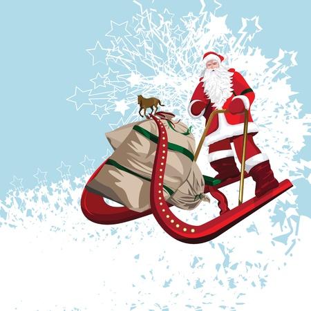 Santa Riding His Sledge Vector