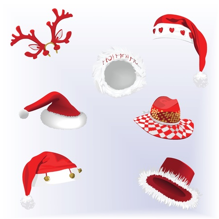 bonnet: Collection of Christmas hats Illustration