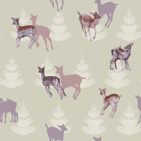 fabric swatch: Deer Repeating Pattern Illustration