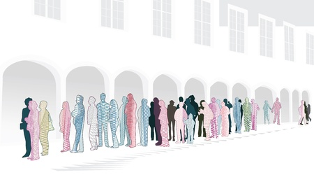 mucha gente: A la espera