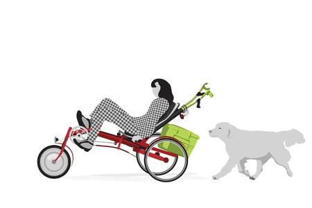 driewieler: Gehandicapte persoon Riding Ligfiets Driewieler Stock Illustratie