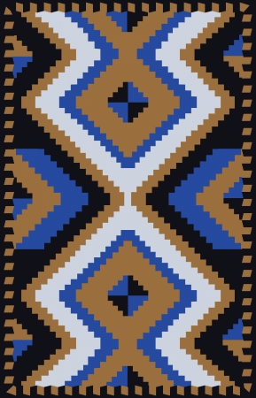 Ethnic carpet design with geometric motif Vector