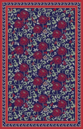 red rug: Retro floral carpet design Illustration