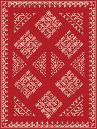 Ornamental rug design with stylized plant motif