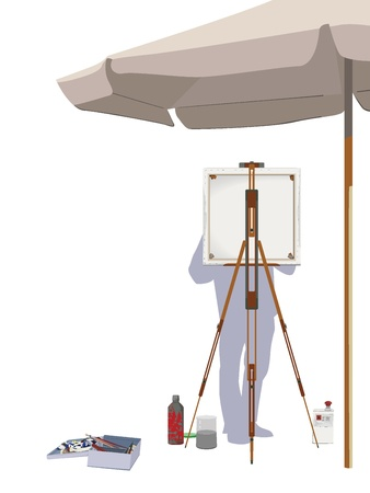 Painting Outdoors Illustration