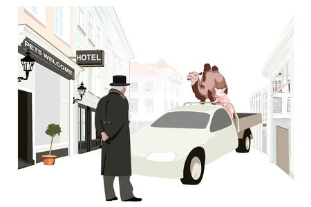porter house: Pet friendly hotel illustration