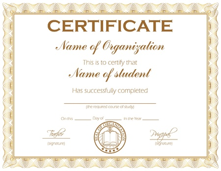 certificado: Certificado de uso general o premio con el texto de muestra que se puede personalizar f�cilmente