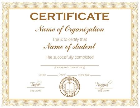reconnaissance: Certificat d'usage g�n�ral ou de bourse avec �chantillon de texte qui peut �tre facilement personnalis� Illustration
