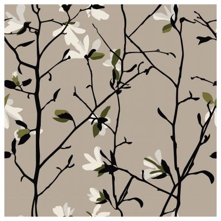 magnolia: Magnolia seamless pattern Illustration