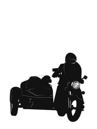 motociclista: Biker con perro Vectores