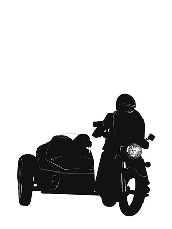 Biker With Dog Stock Vector - 11783471