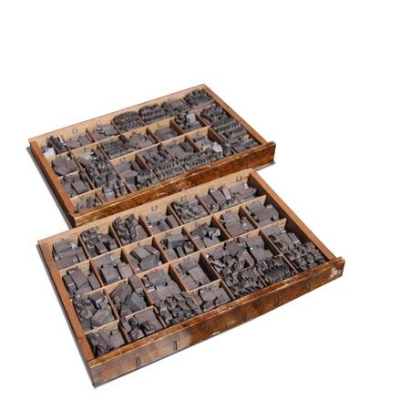 antimony: Metal type pieces set