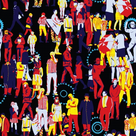 large crowd of people: Crowd Seamless Pattern