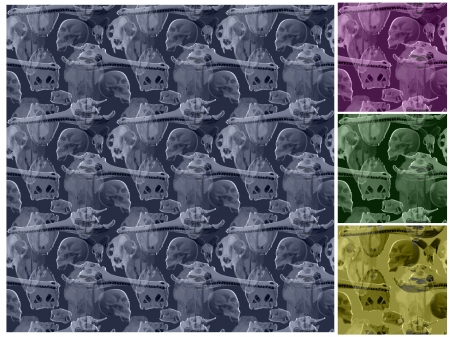 eye socket: Skull seamless pattern with additional color versions