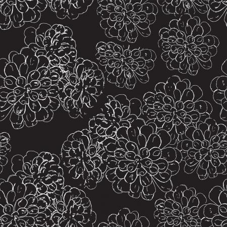 rosettes: White floral seamless pattern on black Illustration