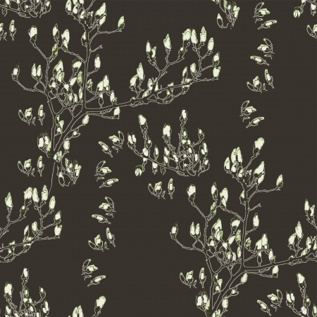 magnolia tree: White Magnolia repeating pattern Illustration
