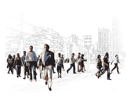 Ilustración de una plaza urbana moderna