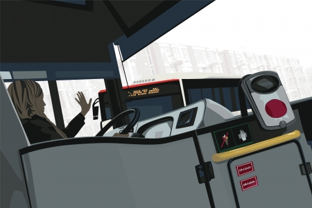 drivers: Female Bus Driver Greets Her College Illustration