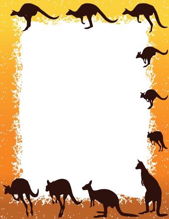 Border Kangaroo Intorno copia spazio bianco