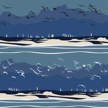 Sailboats In Rough Seas Seamless Pattern Vector