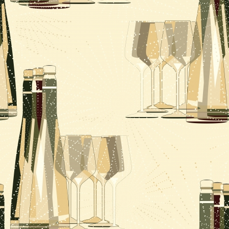 Bottles and glasses seamless pattern design Vector