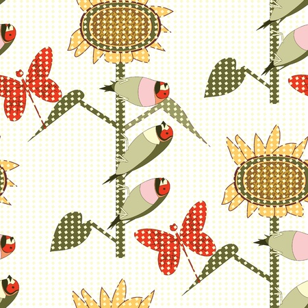 Bird and flower pattern Vector