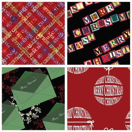 Four seamless Christmas wrapper patterns  Vector
