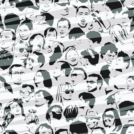 Crowd Naadloze Achtergrond Vector Illustratie