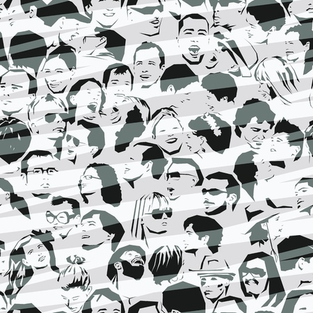 faces: Crowd Seamless Background