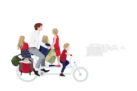 Father with kids riding a bicycle to school Stock Vector - 14993164