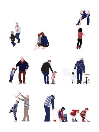 Zorgvuldige vaders - ontwerp elementen Stock Illustratie