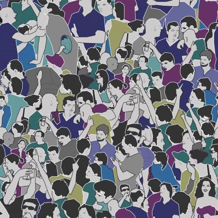 caricaturas de personas: Multitud Seamless Pattern