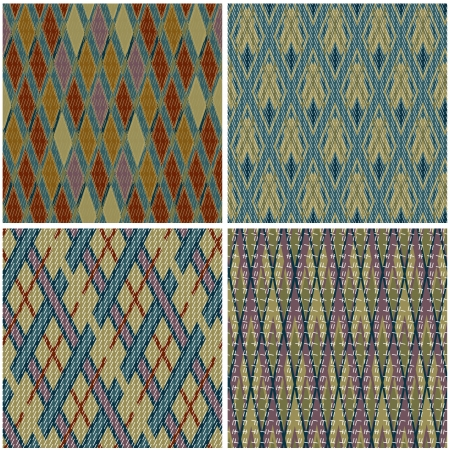 checkered scarf: Collection of seamless patterns in traditional Jacquard style