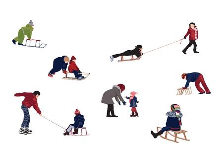 Children enjoy activities at snow - design elements