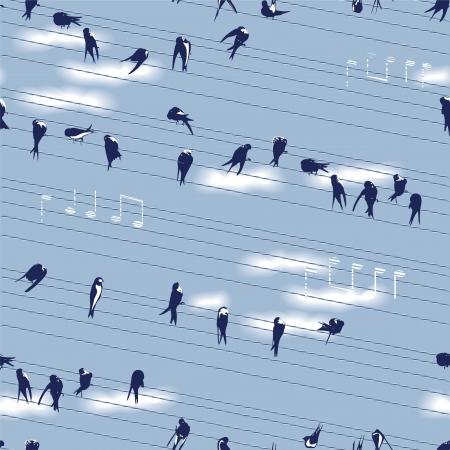 perching: Swallows Seamless Pattern Illustration