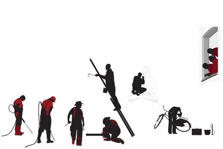 Working figures on white  Illustration