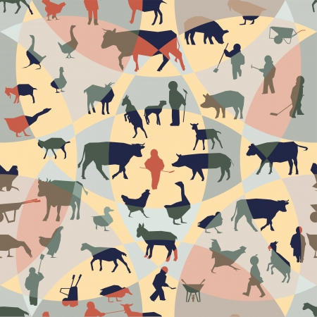 Farm theme seamless pattern Vector