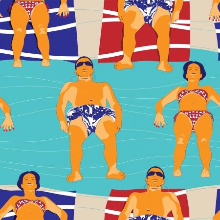 siesta: Leisure at beach pattern