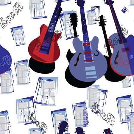 Guitar seamless backdrop Vector