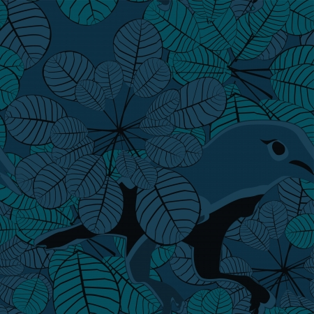 overgrown: Jungle bird seamless pattern Illustration