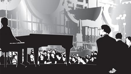 オープンエア: 夜の戸外コンサートの図 (ファイル グラデーションを含む)
