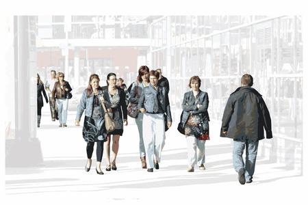 plaza: Bustling, hustling shoppers illustration