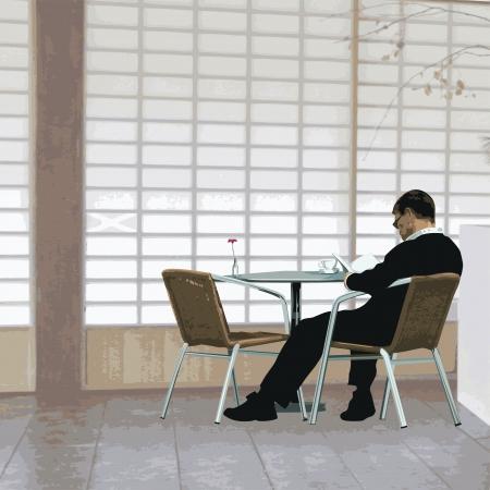 hombre solitario: Coffee ilustración descanso