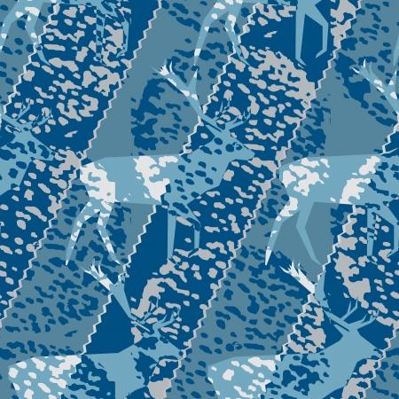 jachere: Bleu deer motif Swatch saisonnier Illustration