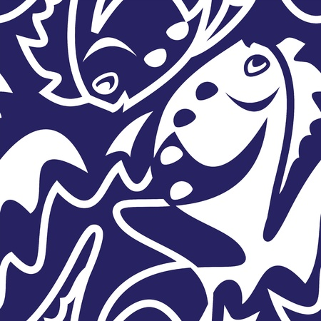 Blue Fish Seamless Pattern Vector