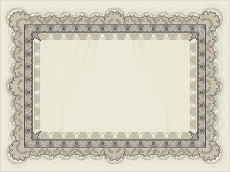 水平方向の空白の証明書テンプレート  イラスト・ベクター素材