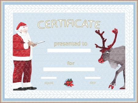 rudolph the red nosed reindeer: Certificate provided by Santa Claus Illustration