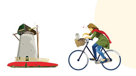 Cycling Dutch Girl Illustration Vector