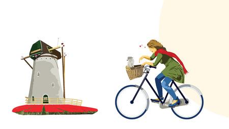 dutch girl: Cycling Dutch Girl Illustration